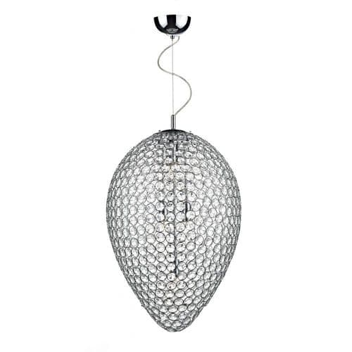 Dar FRO0550 Frost 5 Lamp Pendant Polished Chrome
